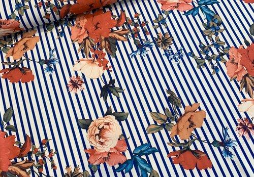 De Stoffenkamer Scuba Crepe Striped Flowers