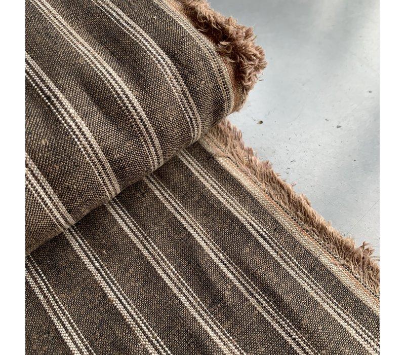Linen Mix Stripes Brown Melange