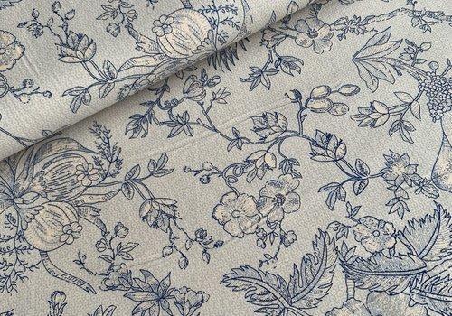 Cotton Blue drawn flowers