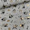 De Stoffenkamer Tricot Grey melange Foil Super Heroes