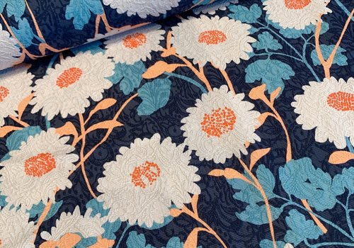 De Stoffenkamer Geweven jacquard blue flowers