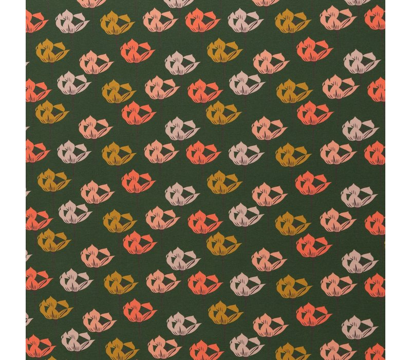 Tricot Green Modern Flowers