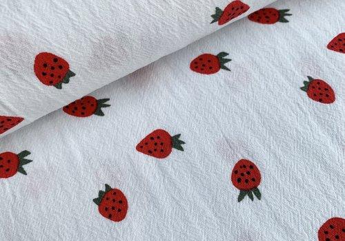 Wrinkle Cotton White Strawberries