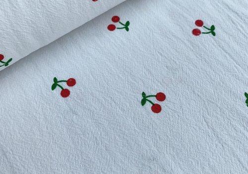 Wrinkle Cotton White Cherries
