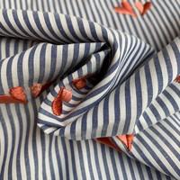Cotton Denim Stripes Hearts Embroidery