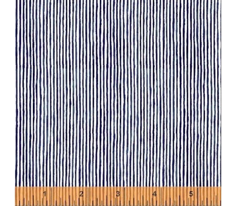 Cotton Blue Painted Lines