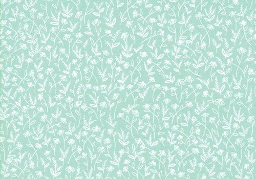 Windham Cotton Minty Green Flowerfield