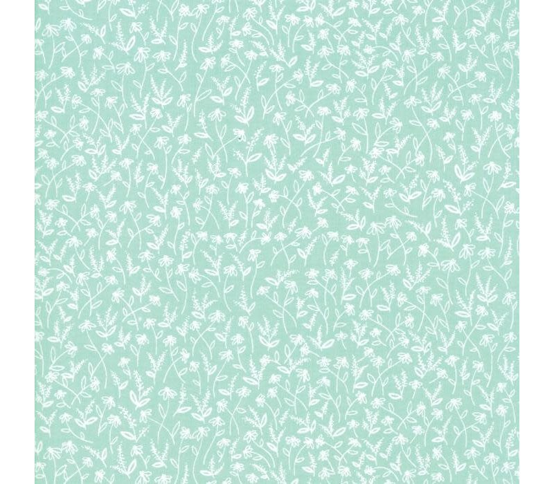 Cotton Minty Green Flowerfield