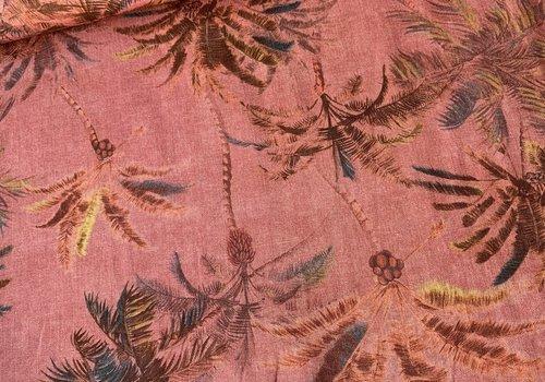 De Stoffenkamer Linen Mix Rusty Pink Palmtrees