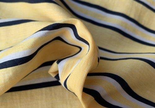 De Stoffenkamer Linen Mix Soft yellow stripes