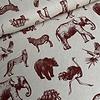 Canvas Burgundy Animals