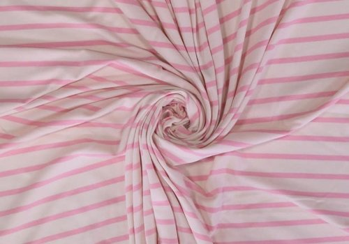 Birch Interlock Tricot - Baby Pink Stripes