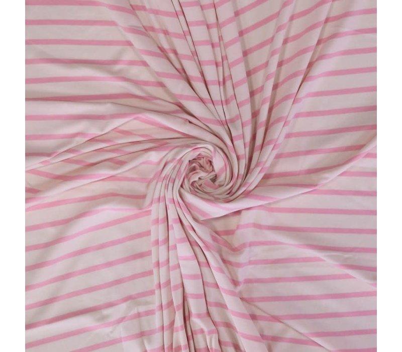 Interlock Tricot - Baby Pink Stripes