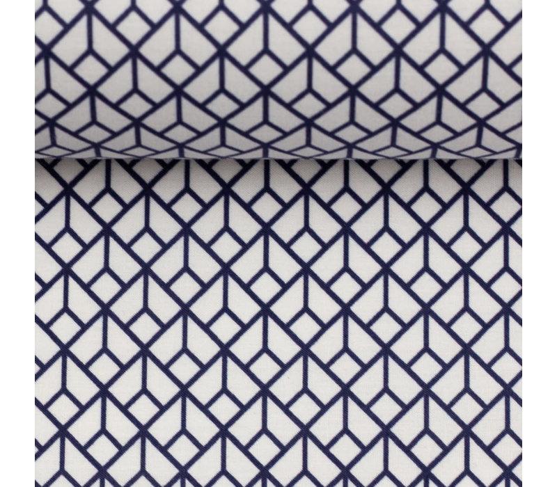 Cotton Geo Blue White