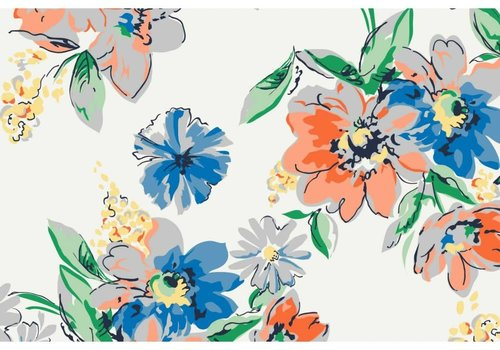 Megan Blue Fabrics Tricot White Flowergarden