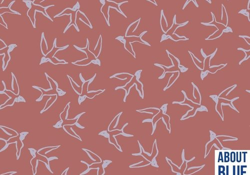 About Blue Fabrics Crepe Viscose - Wild Bird