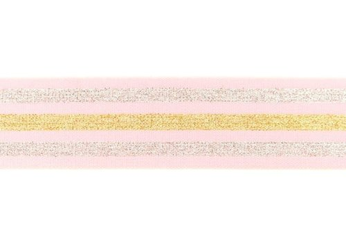 De Stoffenkamer Taille Elastiek 40mm Pink  Stripes