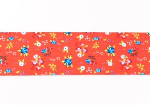 De Stoffenkamer Taille Elastiek 40mm Red Flowers