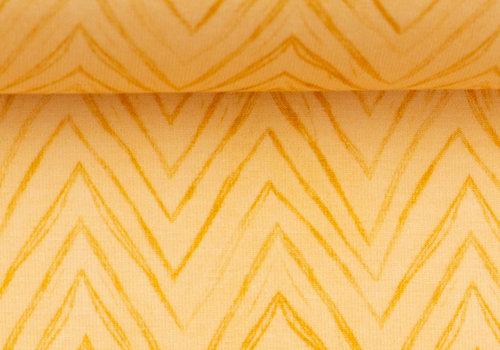 About Blue Fabrics Tricot - Yellow chevron