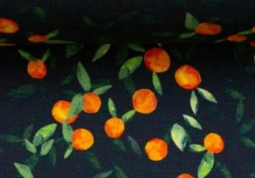 About Blue Fabrics Tricot - Oranges Dark Blue