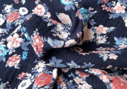 De Stoffenkamer Double Gauze Tetra dark blue flowers
