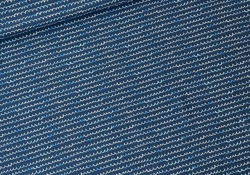 About Blue Fabrics Tricot - waves Dark Blue