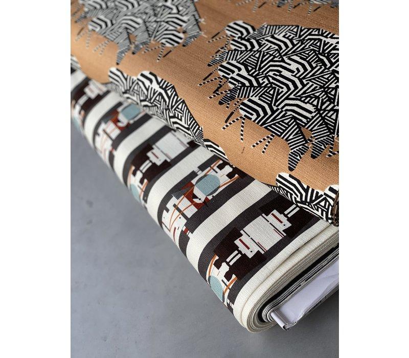 Charley Harper Western Barkcloth - zebra
