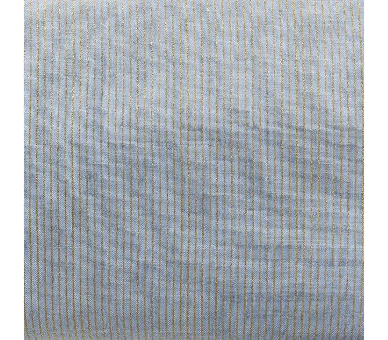 Cotton Light Blue Golden Stripes