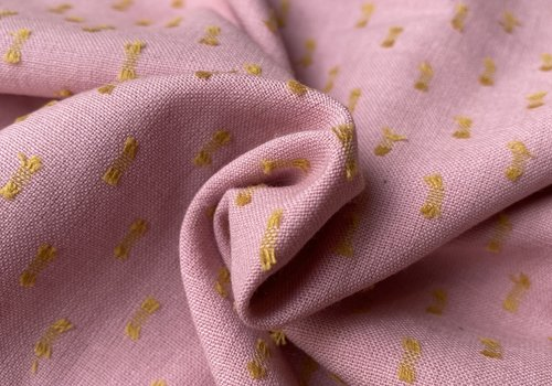 Cotton + Steel Ruby Star WOVEN pink embroidery