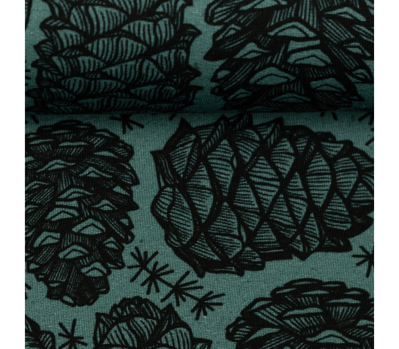 French Terry - Petrol Pinecone