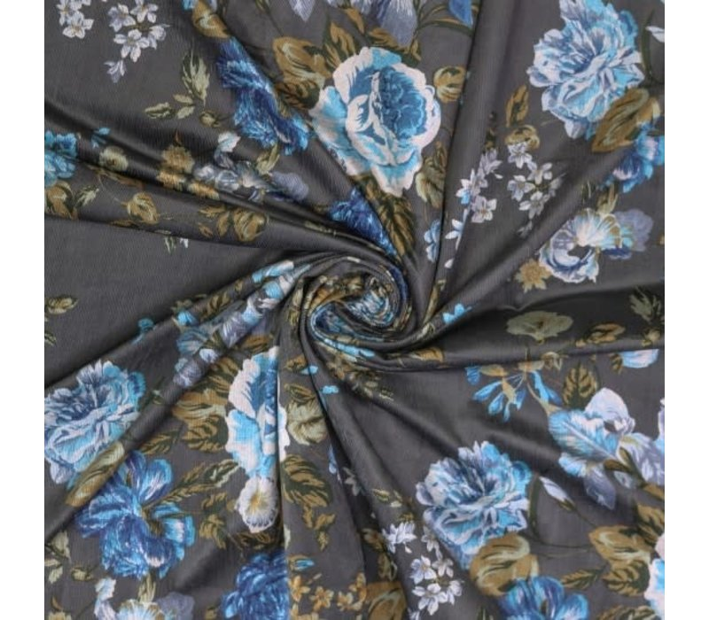 Babyrib velvet Big Flowers Grey