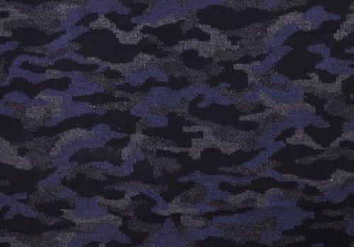 De Stoffenkamer Wol Mix Blue Camouflage