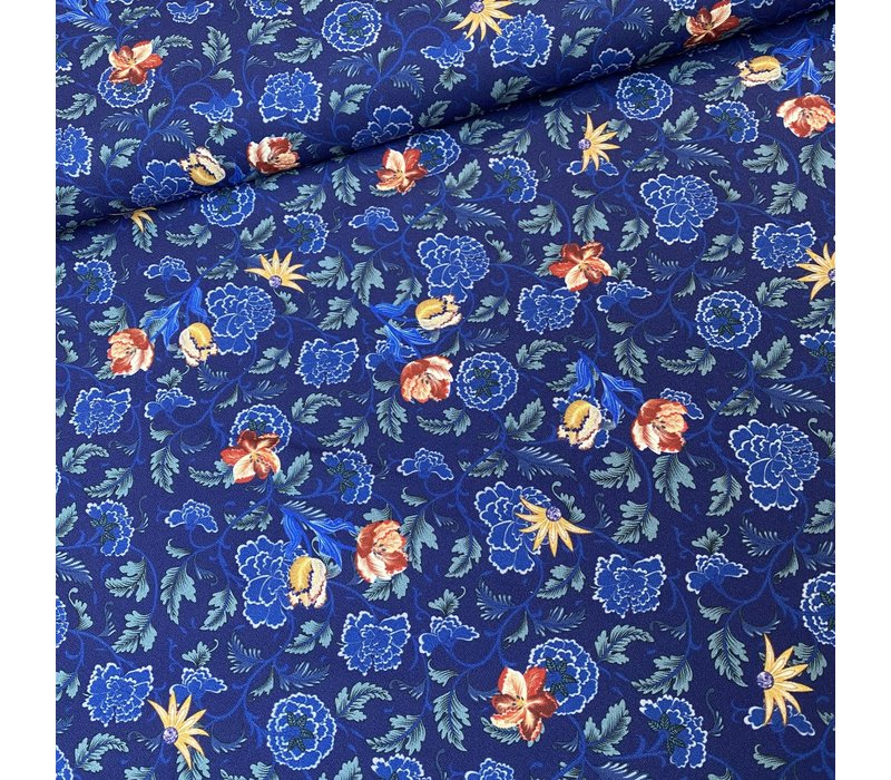 Blouse Stretch Royal Flowers