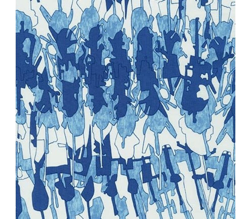 Cotton Abstract Blue White