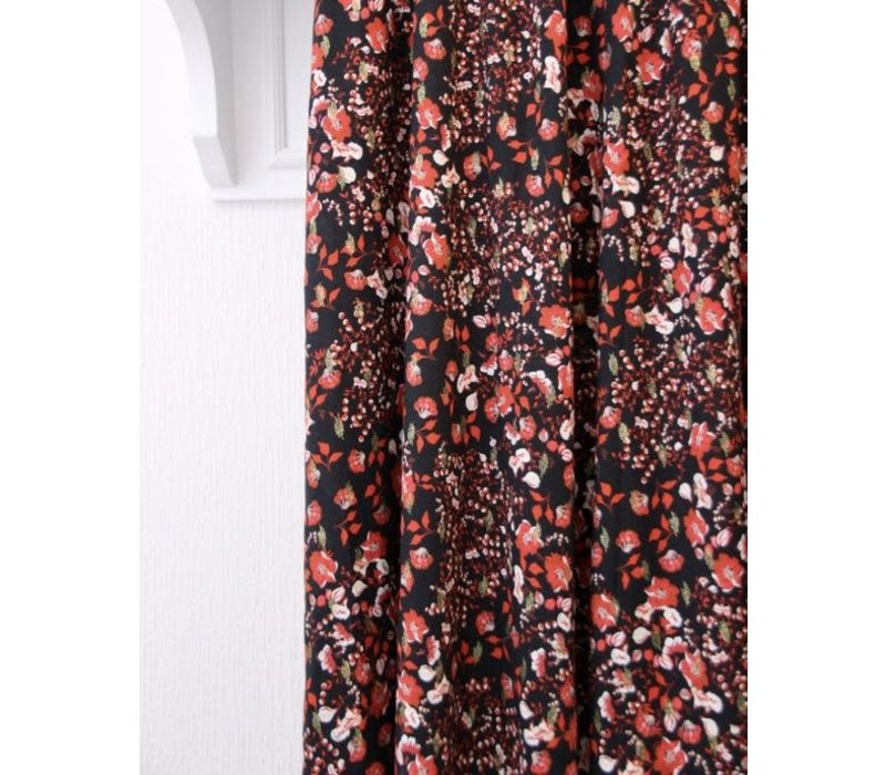 Viscose Black Lurex small red flowers