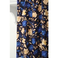Viscose dark blue salmon flower print