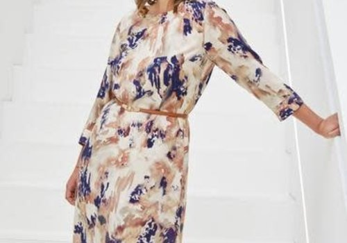 Atelier Jupe Viscose blue and beige marbled