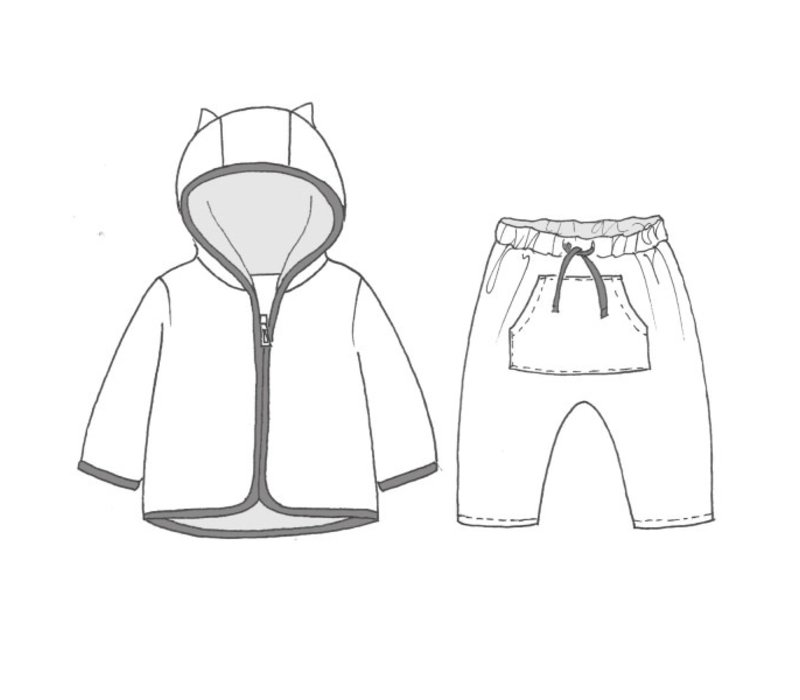 Patroon Broekje plus sweater 1-12maand