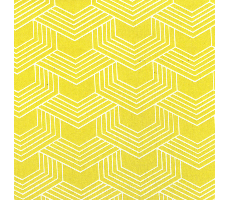 Gelamineerd Katoen Geo Yellow