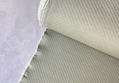De Stoffenkamer Geruite Sweaterstof Sagegreen