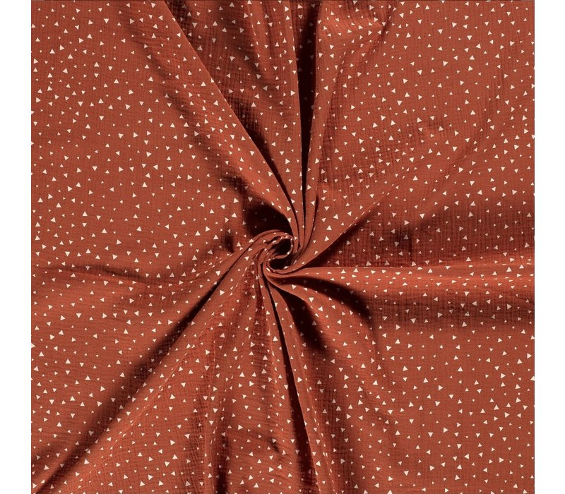 Double Gauze Tetra Triangles Rust