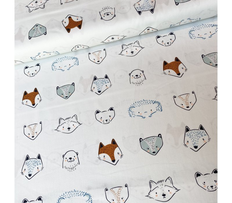 Cotton Little Forester Animal Heads
