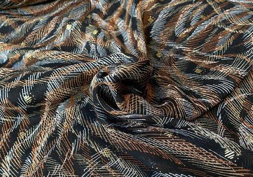 De Stoffenkamer Soft blouse Metallic Stripy rusty black