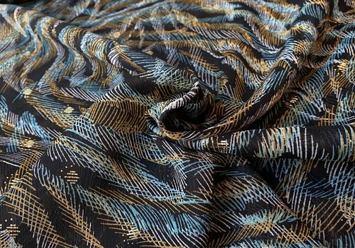 De Stoffenkamer Soft blouse Metallic Stripy oker sea
