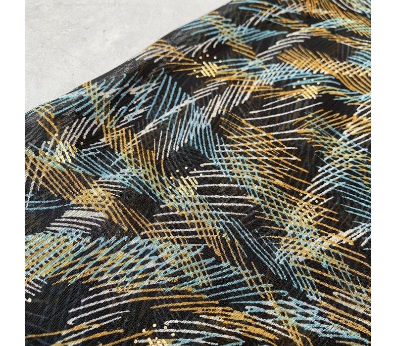 Soft blouse Metallic Stripy oker sea