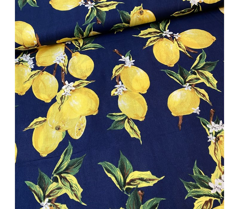 Cotton Navy Lemons