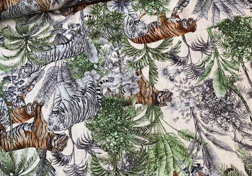 De Stoffenkamer Linen Mix Jungle Tiger