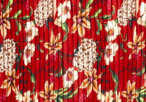 Blouse Chiffon plisse Flowers Red