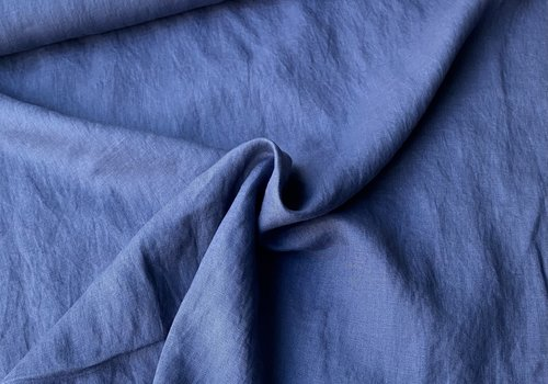 De Stoffenkamer Washed Linen Soft Denimblue