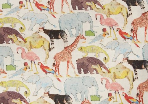 liberty Tana Lawn Liberty - Queue for the zoo cream